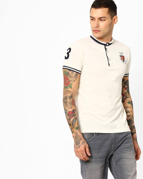 Slim T-shirt With Band Collar By DUKE ( Offwhite )