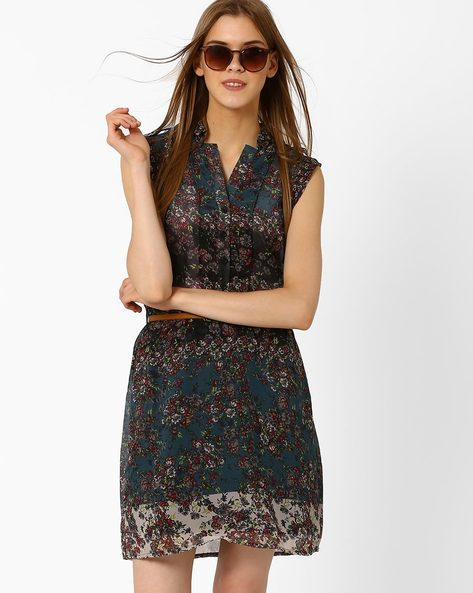 Floral Print Belted Dress By Oxolloxo ( Multi )