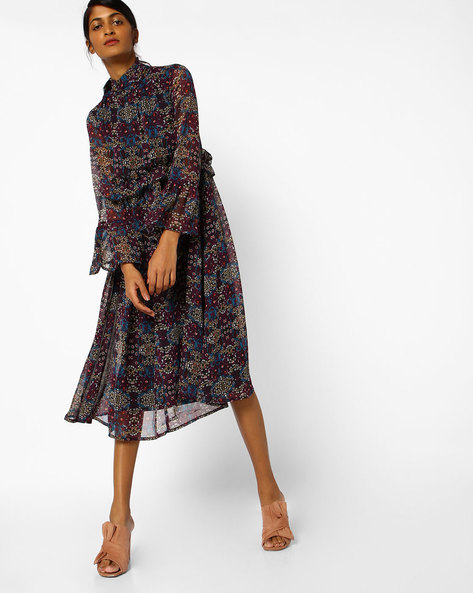 Floral Print Dress With Ruffles By AJIO ( Black )