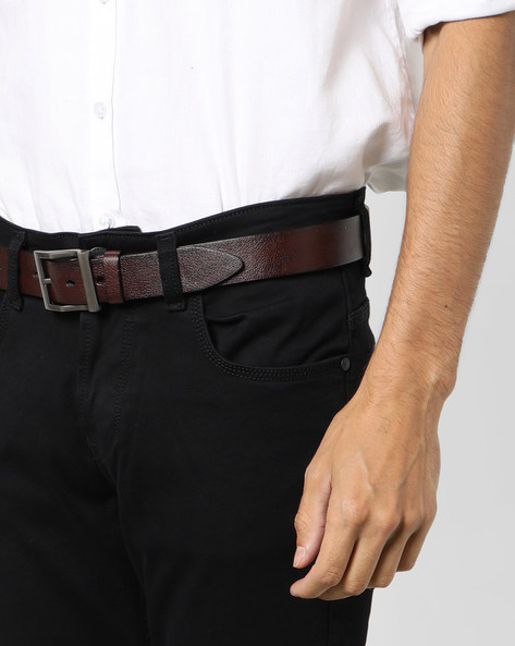 Genuine Leather Textured Belt By Buckle Up ( Brown ) - 460120150001