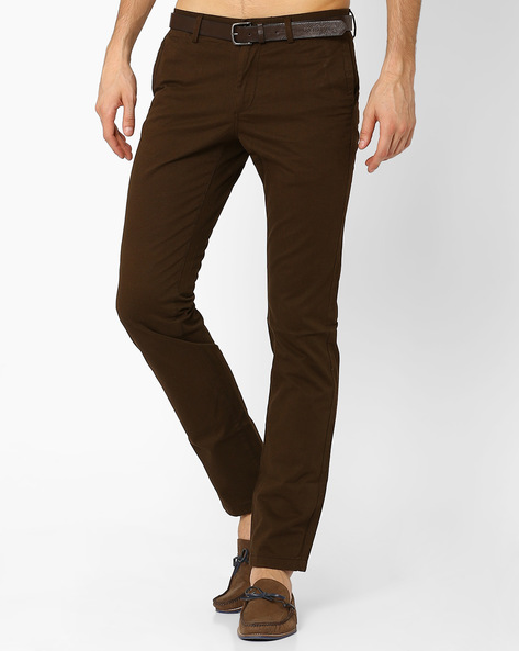 Slim Fit Trousers With Belt By INDIAN TERRAIN ( Brown )
