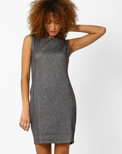 Panelled Sheath Dress By Annabelle By Pantaloons ( Grey )