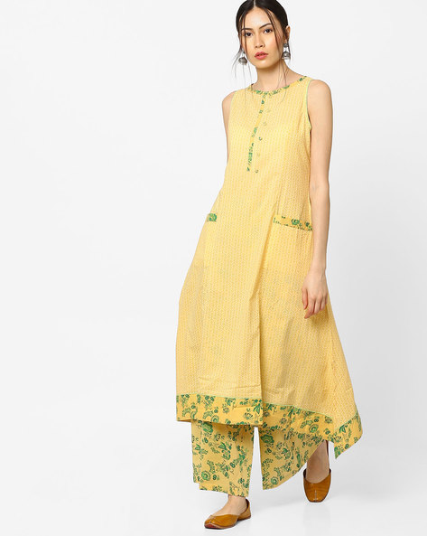 Printed A-line Kurta With Asymmetric Hem By AJIO ( Yellow )