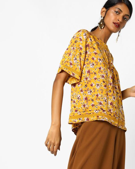 Floral Print Top With Lace Insets By DNMX ( Mustard )