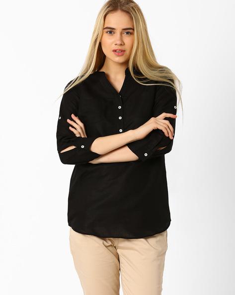 Shirt With Mandarin Collar By Izabel London By Pantaloons ( Black )