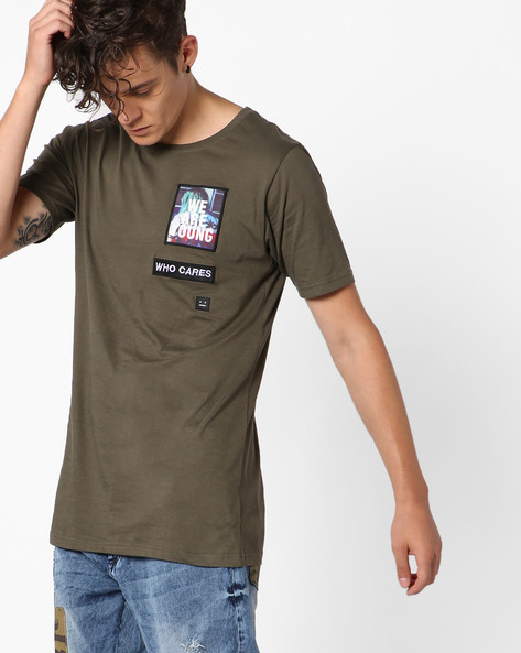 Crew-Neck T-shirt With Appliqué Patches By ADAMO LONDON ( Olive )