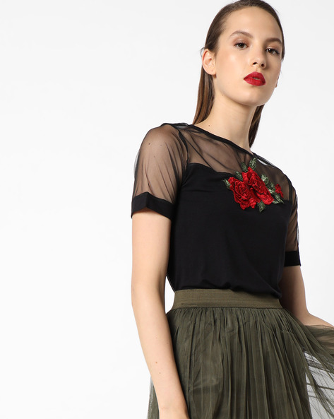 Knitted Top With Floral Embroidery By AJIO ( Black )