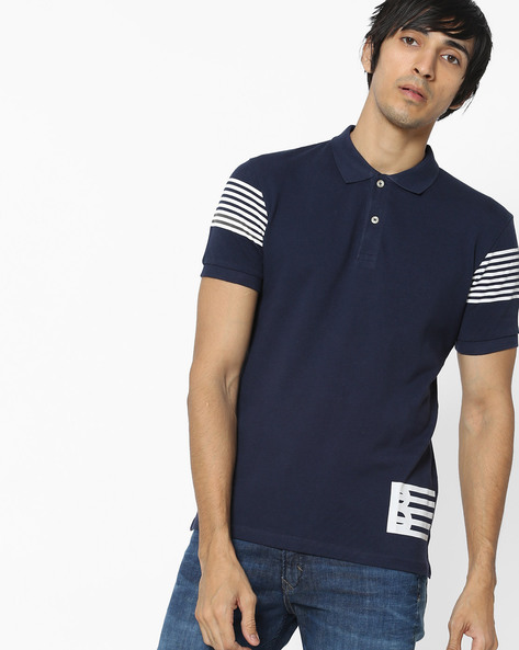 Polo T-shirt With Striped Sleeves By UNITED COLORS OF BENETTON ( Blue )