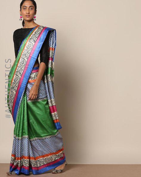 Handloom Pure Silk Tussar Printed Saree By Indie Picks ( Multi ) - 460146997001