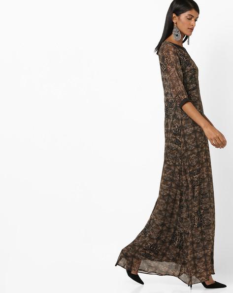 All-Over Print A-line Maxi Dress By Aujjessa ( Black )