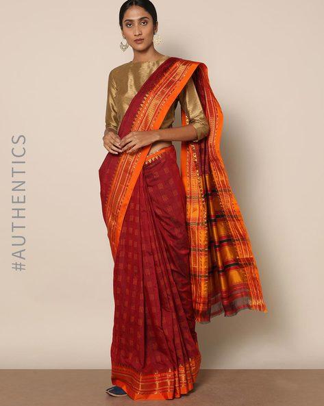 Cotton Silk Ilkal Saree With Zari Border By Indie Picks ( Red )