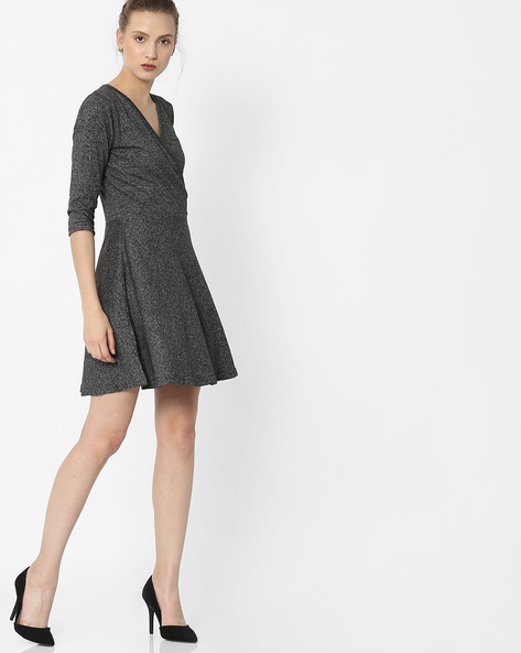 Grindle A-Line Dress With Surplice Neck By ANONYMOUS CO ( Black )
