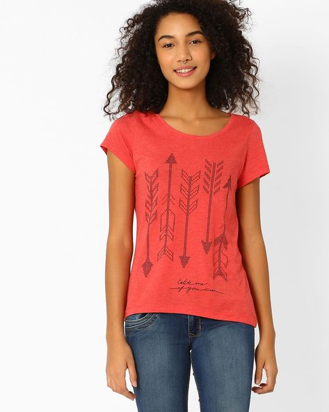 Printed Top With Round Neckline By Vero Moda ( Red )