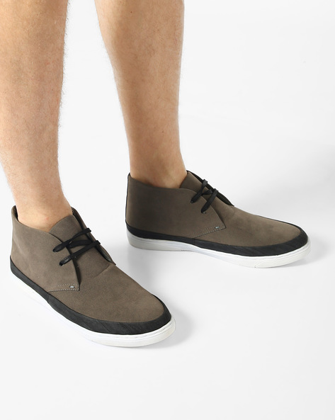 N9-Treated Lace-Up Sneakers By AJIO ( Grey )