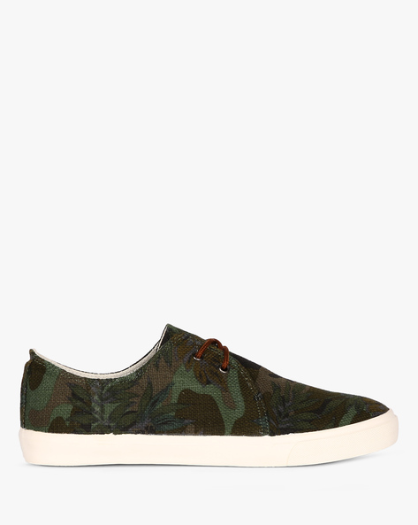Tropical Print Lace-Up Sneakers By Nuboy ( Green )