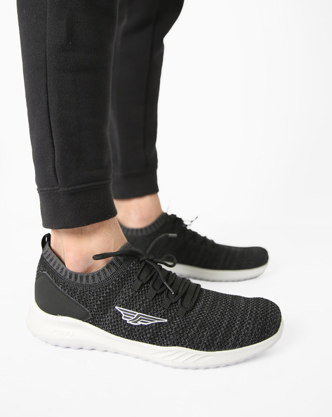 Low-Top Lace-Up Sports Shoes By RED TAPE ( Black )