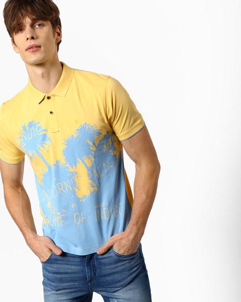 Tim Tropical Print Polo T-shirt By WRANGLER ( Yellow )