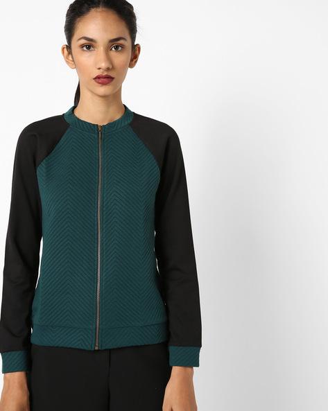 Zip-Front Raglan-Sleeve Sweatshirt By UNITED COLORS OF BENETTON ( Darkgreen )