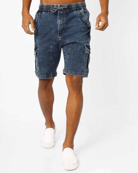 Denim Shorts With Pockets By AJIO ( Blue )