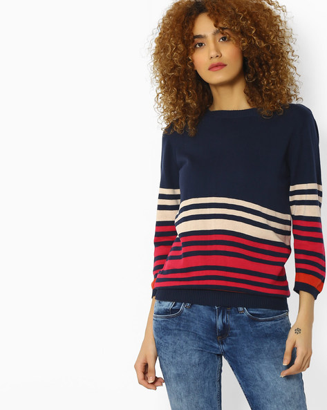 Striped Flat Knit Top By FIG ( Navy )