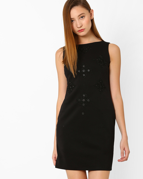 Sheath Dress With Embellishments By AJIO ( Black )