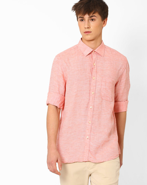 Linen Shirt With Patch Pocket By NETWORK ( Orange ) - 440723208003