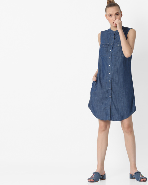 Sleeveless Shirt Dress With Band Collar By DNMX ( Darkblue )