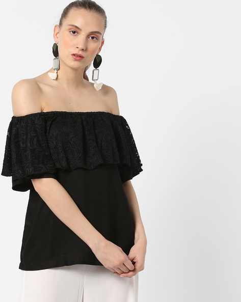 Off-Shoulder Top With Ruffled Layer By And ( Black )