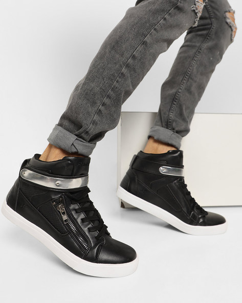 High-Top Lace-Up Casual Shoes By SPARX ( Black )