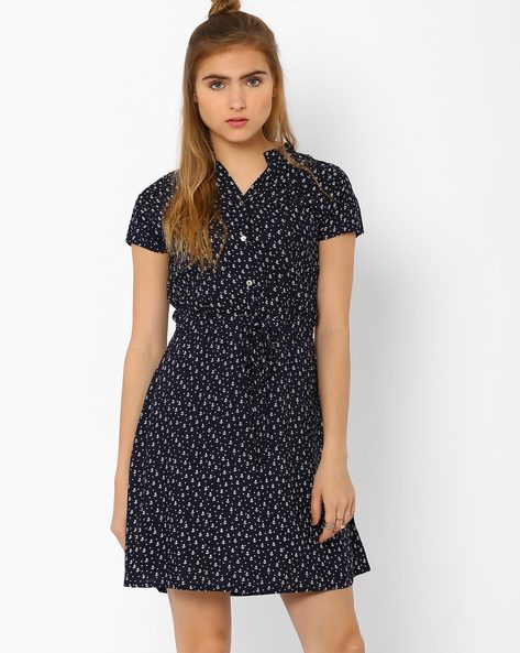 Printed Dress With Tie-Ups By CHM ( Blue )