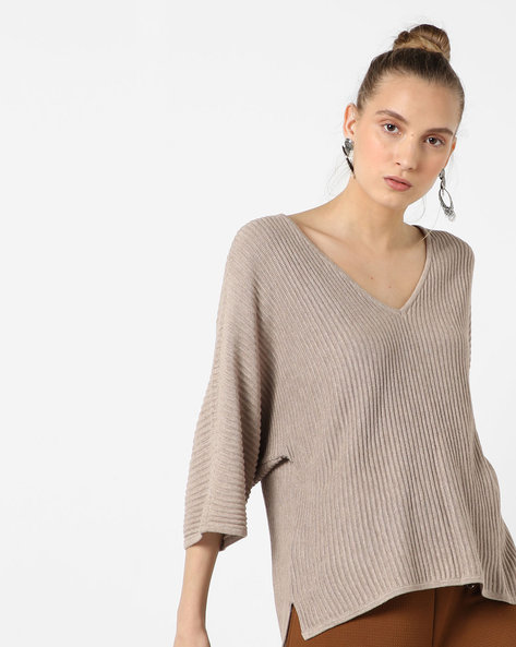 Knitted Ribbed Top By SAINT TROPEZ ( Brown )