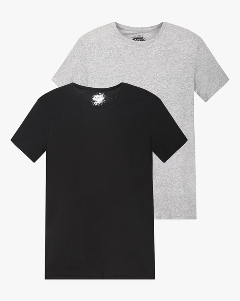 Pack Of 2 Crew-Neck T-shirts By AJIO ( Multicolor )