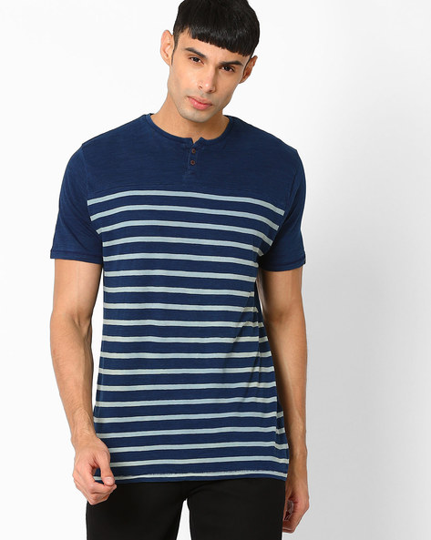 Muscle Fit Henley T-shirt By BASICS ( Blue )