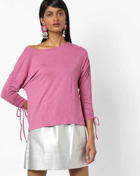 Boat-Neck Top With Shirring & Tie-Ups By AJIO ( Fuchsia )