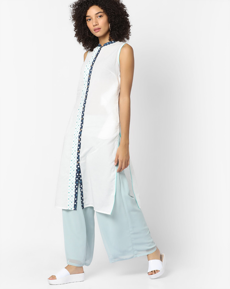 Sleeveless Straight Kurta By AJIO ( White )
