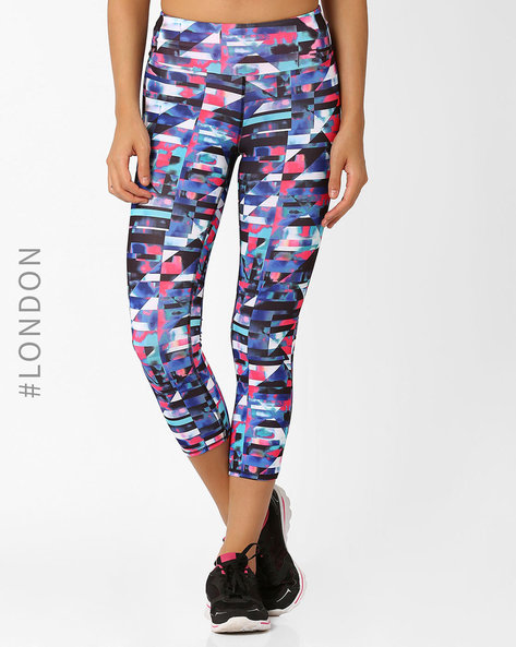 Printed Cropped Leggings With Quick Dry By Marks & Spencer ( Black )
