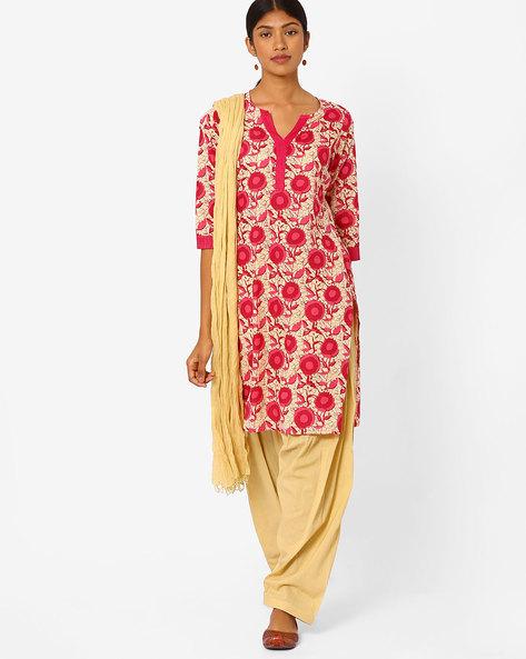 Floral Print Salwar Kurta With Dupatta By Jaipur Kurti ( Pink )