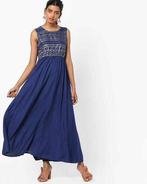 Printed A-line Dress By Akkriti By Pantaloons ( Blue )