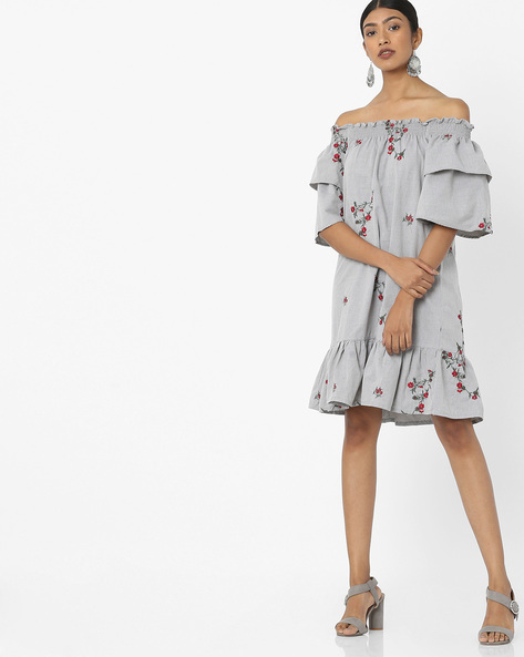 Off-Shoulder Dress With Floral Embroidery By Tokyo Talkies ( Grey )