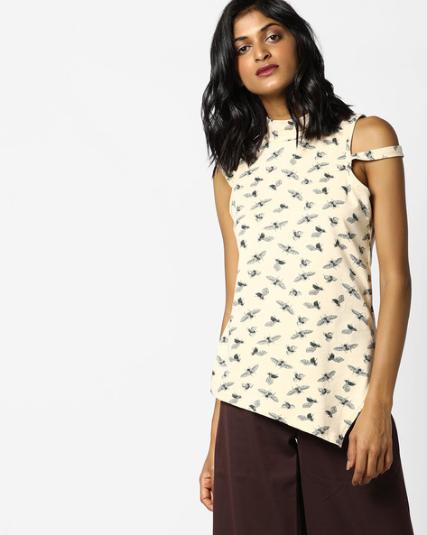 Printed High-Neck Top With Asymmetrical Hemline By AJIO ( Beige )