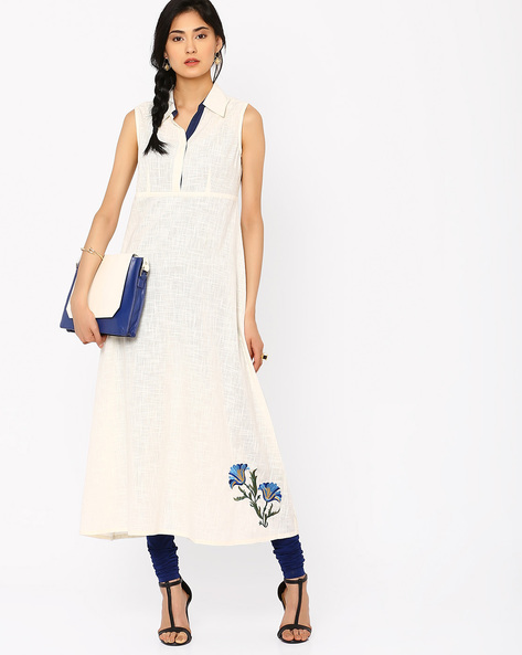 Sleeveless Dress With Collar By AJIO ( Offwhite )