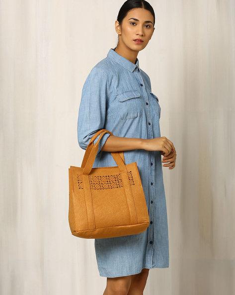 Felt Cutwork Tote Bag By Indie Picks ( Yellow )