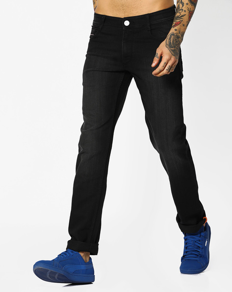 Mid-Rise Slim Fit Jeans By JOHN PLAYERS ( Black )