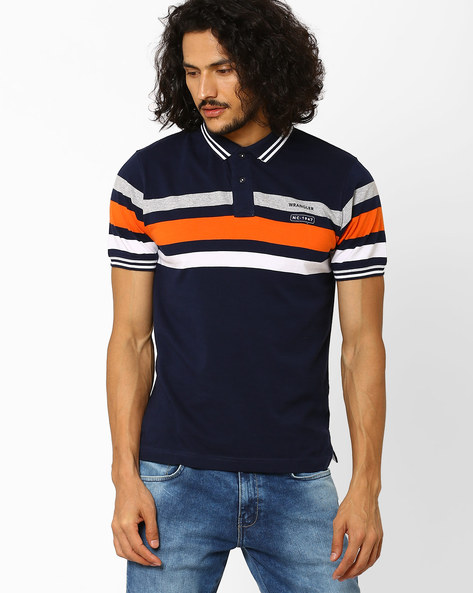 Polo T-shirt With Stripes By WRANGLER ( Blue )