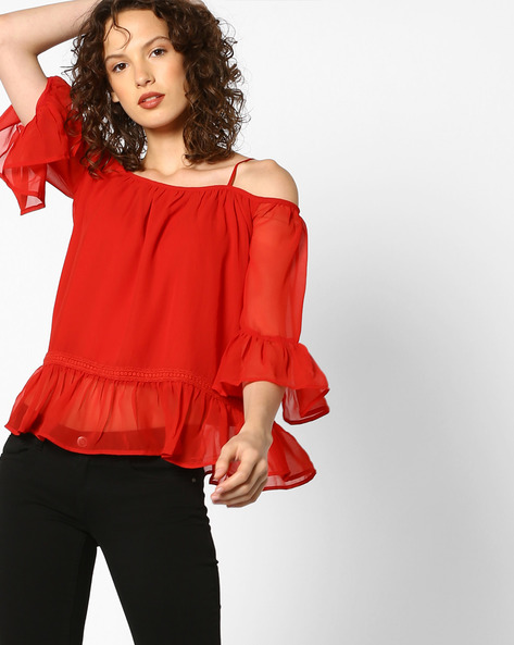 Strappy Top With Flounce Hem By AJIO ( Red )
