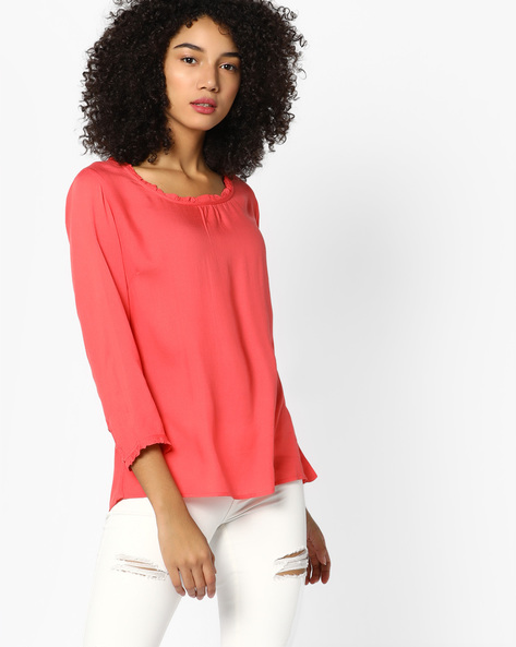 Top With Ruffled Trims By BOSSINI ( Pink )