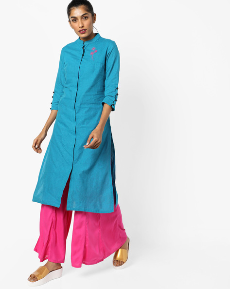 Straight Kurta With Mandarin Collar By AJIO ( Blue )