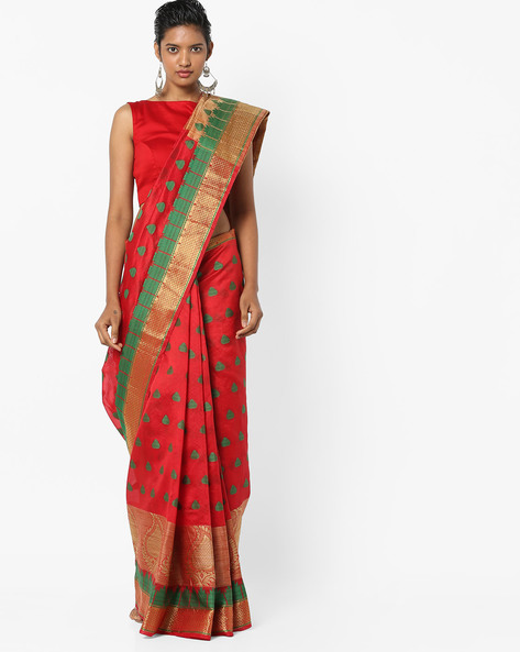 Banarasi Saree With Woven Design By Era ( Red )