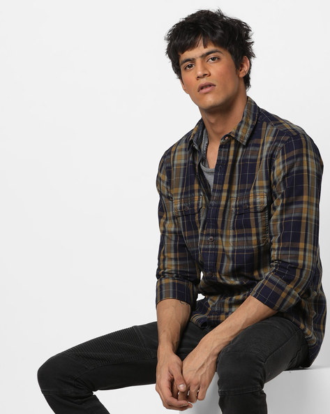 Checked Slim Fit Shirt With Flap Pockets By AJIO ( Brown )