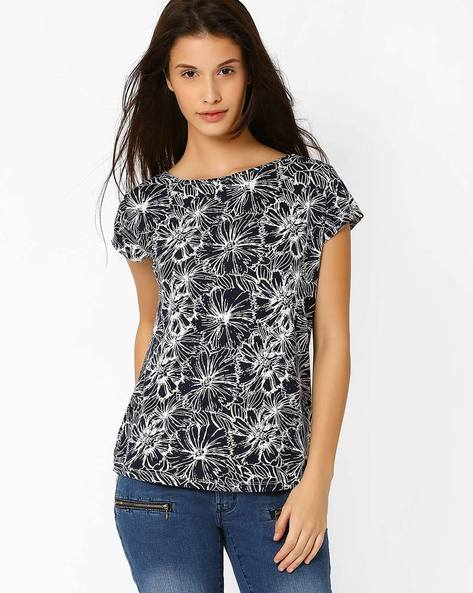 Floral Print Top By FIG ( White )